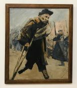 A 20th century English school, depicting a veteran of WWI, unsigned, oil on canvas, framed (55x46