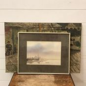 """A 20th century English school, Sailor on the dock with a covered sailboat, signed """"B."""