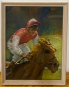 A 20th century English school, a Jockey galloping a horse, illegible signature and dated '86,