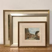 A 20th century English school, Canal view with bridge, unsigned, pastels, framed and glazed,