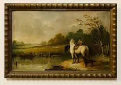 William Frederick Callaway (act.XIX), Landscape with a horseman and a river with figures in a