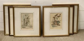"""A group of prints depicting """"The entrance to the Collage Chapel, Eton (with the five buttress)"""", """""""