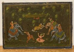 A Mughal Empire style painting on silk laid on board of a tiger hunt, with elephants and figures
