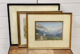 "Atributted to Frank Moss Bennett (1874-1953), ""Aosta"", signed, titled and dated 1911 lower right,"