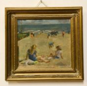 A 20th century English school, Scene on the beach, illegibly signed lower right, oil on canvas