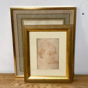 A 20th century English school, Woman resting on chair, illegibly signed, drawing on paper, framed