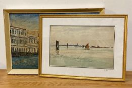 A 20th century English school, a view of the Venetian Lagoon, watercolour, unsigned, framed and