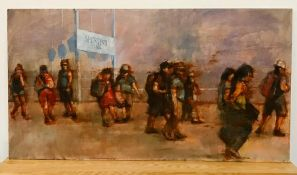 "David Gainford (XX-XXI), British, ""Sporting Plage"", signed lower left, oil on panel, unframed, ("