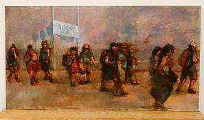 "David Gainford (XX-XXI), British, ""Sporting Plage"", signed lower left, oil on panel, unframed, ("