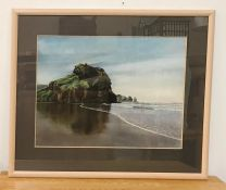 "A 20th century English school, View of a beach with a rock, signed ""Mark Dowson"" and dated '91 lower"