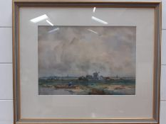 """A 20th century English school, """"Figure in a boat in a landscape with windmills and a village"""