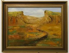 A 20th century English school, Landscape, illegibly signed and dated 1976 lower right, oil on
