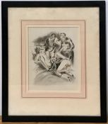 A 20th century erotic print, probably after André Collot, unsigned, framed and glazed, (22.5x17 cm).