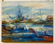 Yury Iosifovich Galetsky (b.1944) Russian, Ships at sea, signed and dated '91 lower right,