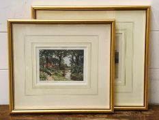 """A pair of prints depicting landscapes around Chobham, """"Common"""" and """"The Bourne"""", titled with"""