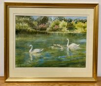 """Bryan Fowler (XX-XXI) British, """"Outing"""", signed lower right and titled label verso, watercolour on"""