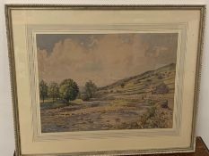 A Florence R. Walker watercolor, signed to lower left. River and landscape scene