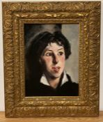David Gainford (XX-XXI) British, Portrait of a lady, unsigned, oil on mesonite, within a decorated