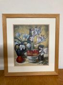 """A 20th century English school, Still life with apples and Irises, signed: """"Pat Wingrove"""" lower"""