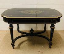 A black lacquer centre table