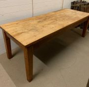 A Large pine farm house table (L 216 cm x D 82 cm x H 72cm)
