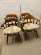 Four spindle back farm chairs (D50cm W60cm H48cm to seat)