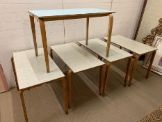 A Selection of Five Formica Topped School Tables (107 cm x 53 cm x 74 cm)