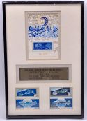 A Framed July 1975 The First Handshake in Space Stamp presentation set. Limited Edition 462/1975