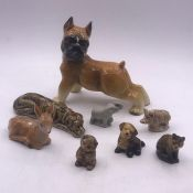 A selection of wade animal whimsies and a china bull dog