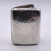 A Silver cigarette case, hallmarked Chester 1906