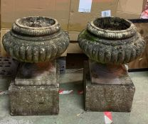 Two garden stone flower pots on square bases