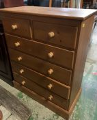 A Two Over Four Pine Chest of Drawers (117 cm High x 94 cm Wide x 45 cm Deep)