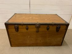 A Large Brass Banded Travel trunk (W 107 cm x D 59 cm x H 53 cm)