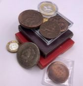 A small collection of collectable coins various countries and denominations