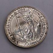 A 1998 One Ounce Britannia silver coin. (Diam 4cm)
