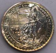 A 2019 One Ounce Britannia silver coin. (Diam 4cm)