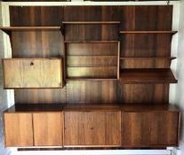 A Mid Century wall shelving system