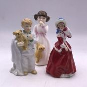 Three small Royal Doulton Figures 'Christmas Morn', 'Daddy's Girl' and 'Sleepyhead'