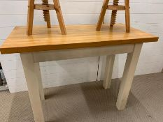 Breakfast bar table with beech top and painted base (Table H88cm W120cm D58cm)