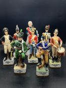 A selection of eight Alfretto porcelain collectors series military china figures