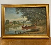 A 19th century English school, Figures in a recreational boat on a pond and cattle beyond, unsigned,