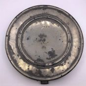 Two Pewter dishes approx 20 inches 1670 -1705