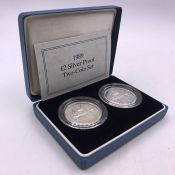 1989 Cased Silver Proof Two Coin Set 'Bill of Rights and Claim of Rights'