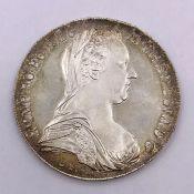 A Maria Theresa thaler silver bullion coin.