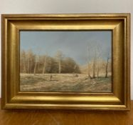 A 20th century English school, Pheasant hunting scene, illegibly signed (Mare?) lower right, tempera