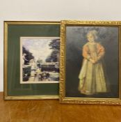 """A pair of prints, comprising """"The little girl with a bell"""" after Cornelis de Vos, and A leisure"""