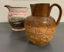 A Sunderland Bridge pink Lustre ground pearlware jug flanked by two mottos with in flower cartouches