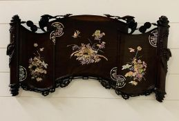 A 19th century Chinese hardwood and mother of pearl wall plaque 81cm W x 41cm H