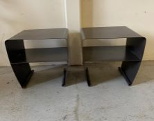 A pair of contemporary metal bedside cabinets