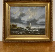 Graham Hedges (c.1952) British, Fishing vessels on stormy sea, signed lower right, oil on canvas,